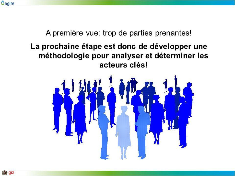 A première vue: trop de parties prenantes! La prochaine étape est donc de développer une méthodologie pour analyser et déterminer les acteurs clés!