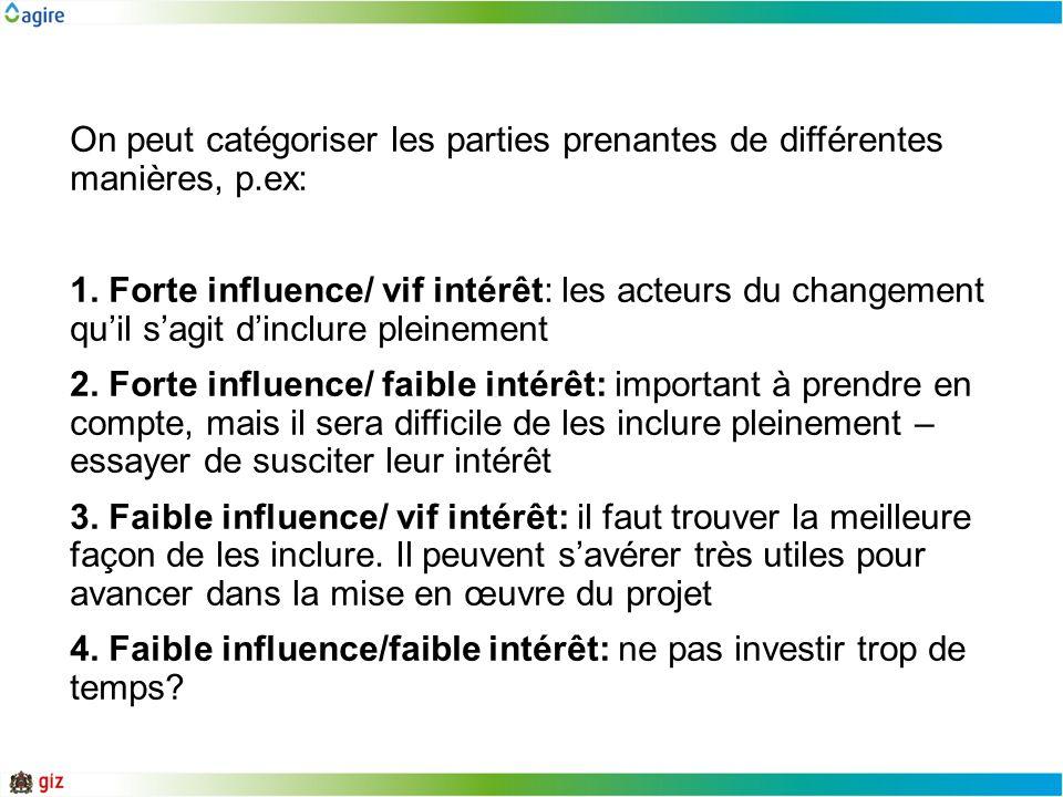 On peut catégoriser les parties prenantes de différentes manières, p.ex: 1. Forte influence/ vif intérêt: les acteurs du changement quil sagit dinclur
