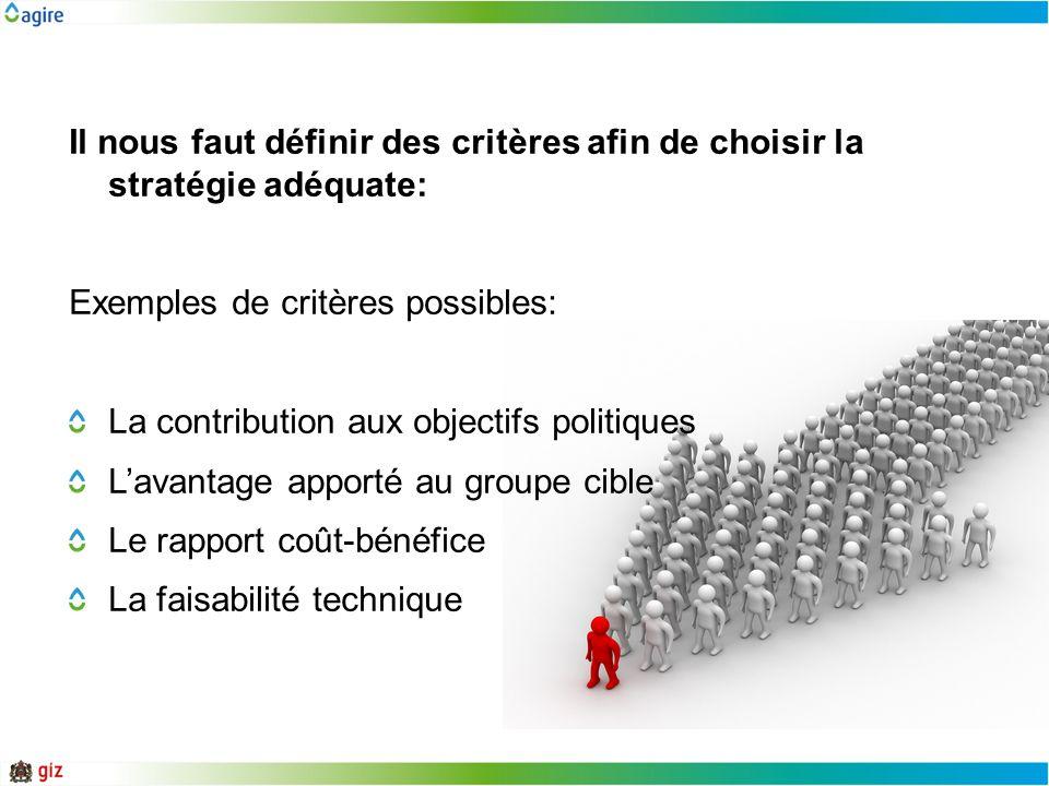 Il nous faut définir des critères afin de choisir la stratégie adéquate: Exemples de critères possibles: La contribution aux objectifs politiques Lava