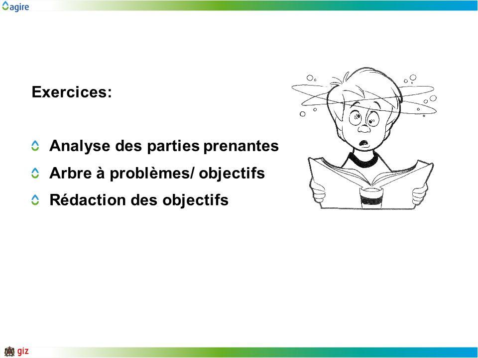 Exercices: Analyse des parties prenantes Arbre à problèmes/ objectifs Rédaction des objectifs