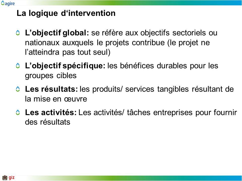 La logique dintervention Lobjectif global: se réfère aux objectifs sectoriels ou nationaux auxquels le projets contribue (le projet ne latteindra pas