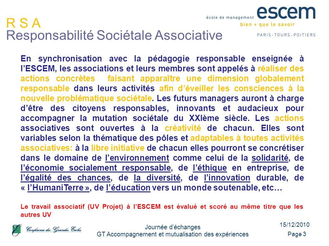15/12/2010 Journée déchanges GT Accompagnement et mutualisation des expériences Page 3 R S A Responsabilité Sociétale Associative En synchronisation a