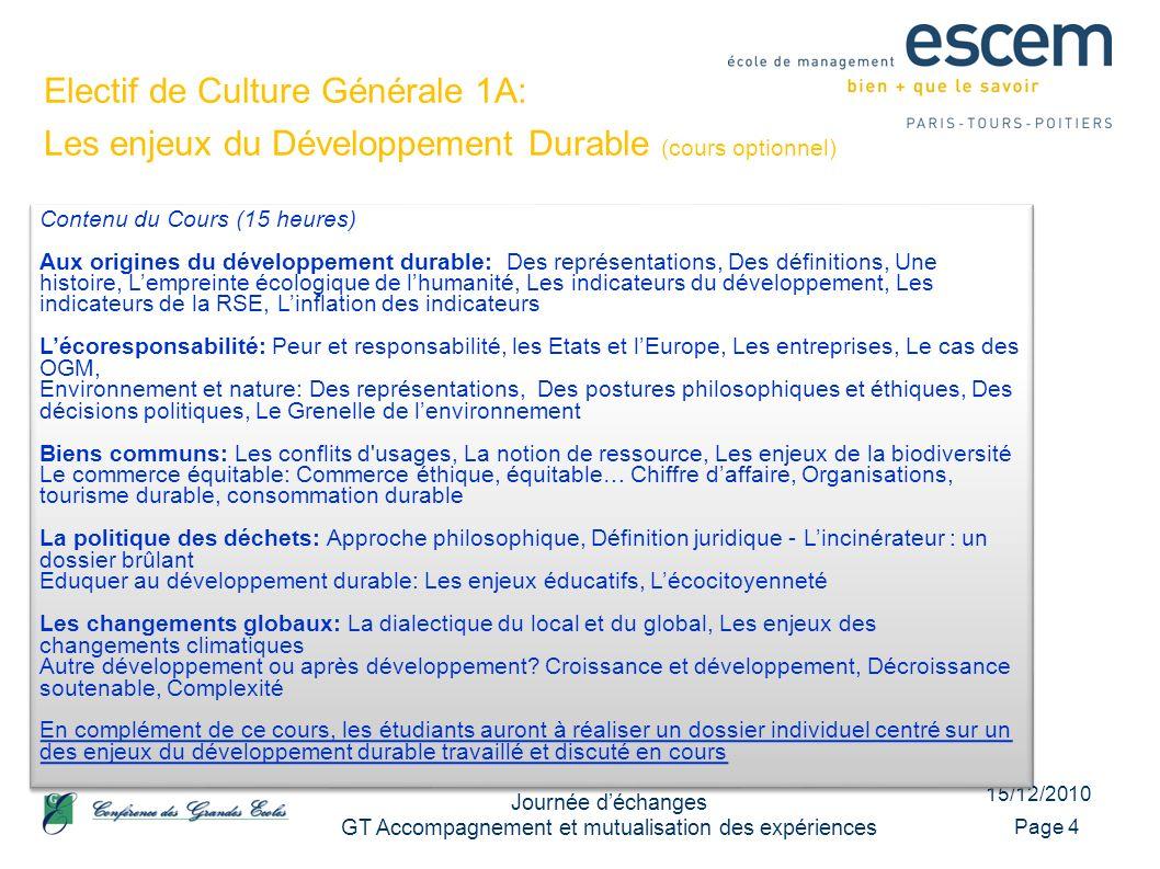 15/12/2010 Journée déchanges GT Accompagnement et mutualisation des expériences Page 4 Contenu du Cours (15 heures) Aux origines du développement dura