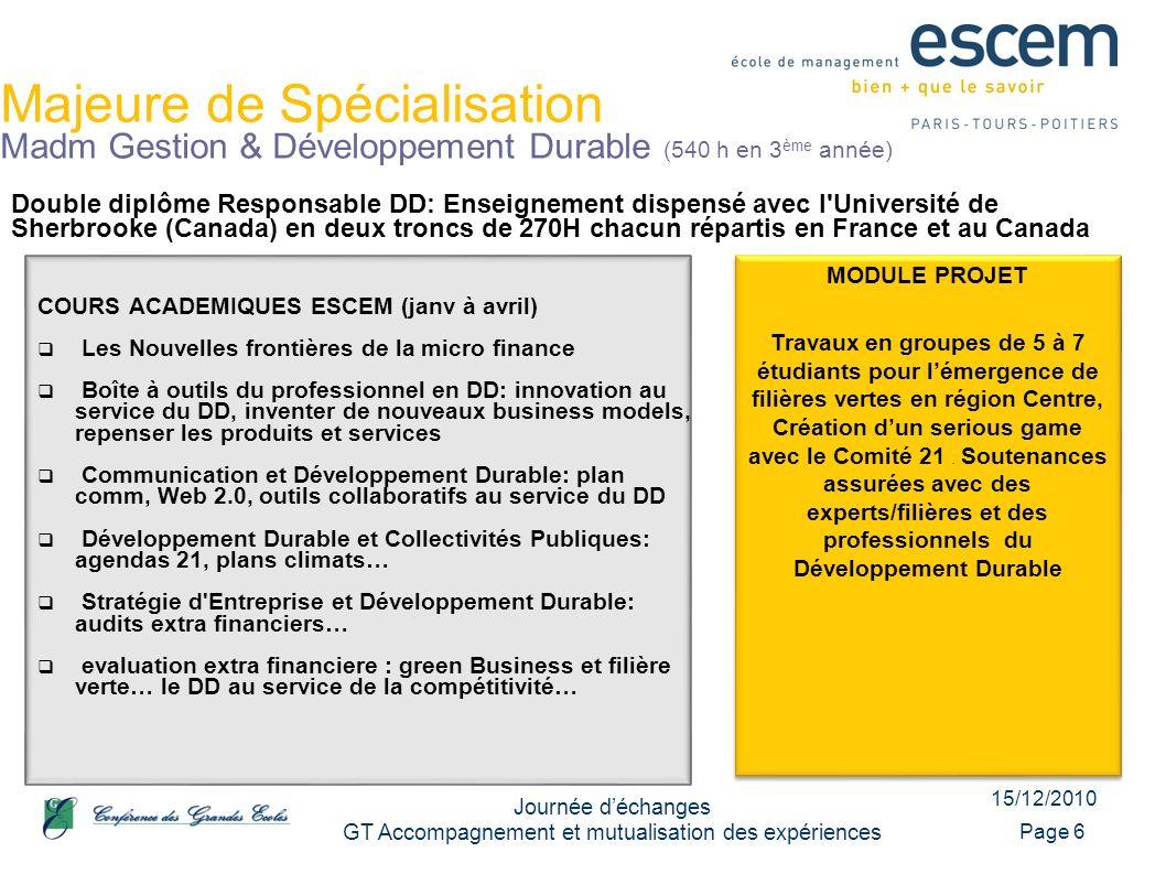 15/12/2010 Journée déchanges GT Accompagnement et mutualisation des expériences Page 6 Majeure de Spécialisation Madm Gestion & Développement Durable