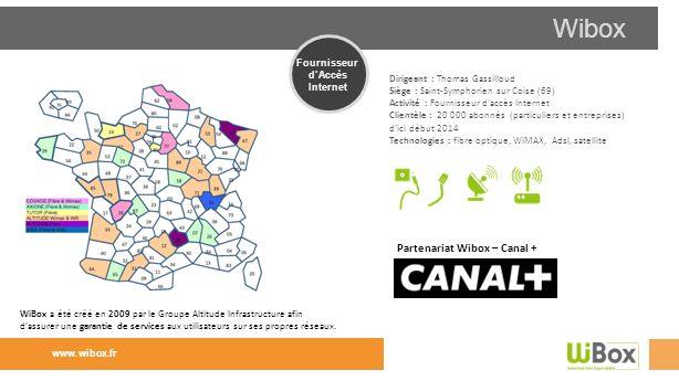 Wibox Dirigeant : Thomas Gassilloud Siège : Saint-Symphorien sur Coise (69) Activité : Fournisseur daccès Internet Clientèle : 20 000 abonnés (particu