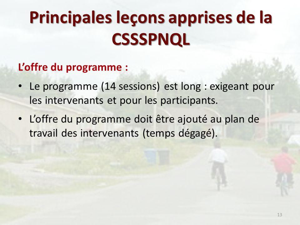 Principales leçons apprises de la CSSSPNQL Loffre du programme : Le programme (14 sessions) est long : exigeant pour les intervenants et pour les participants.