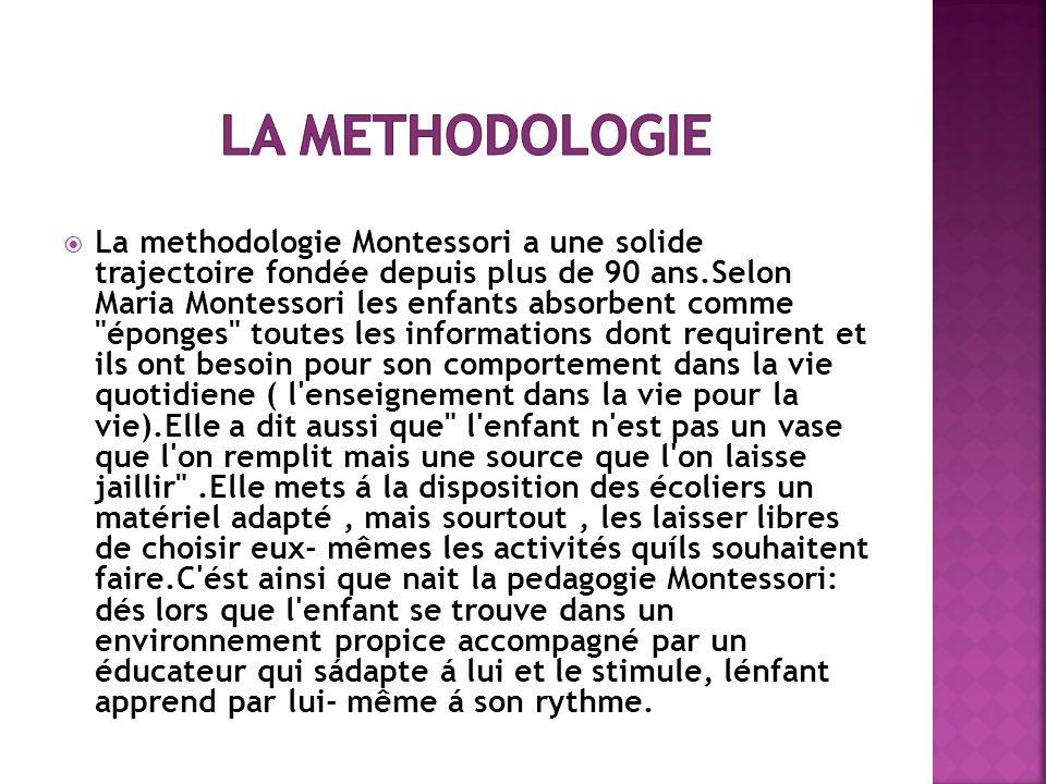 La methodologie Montessori a une solide trajectoire fondée depuis plus de 90 ans.Selon Maria Montessori les enfants absorbent comme