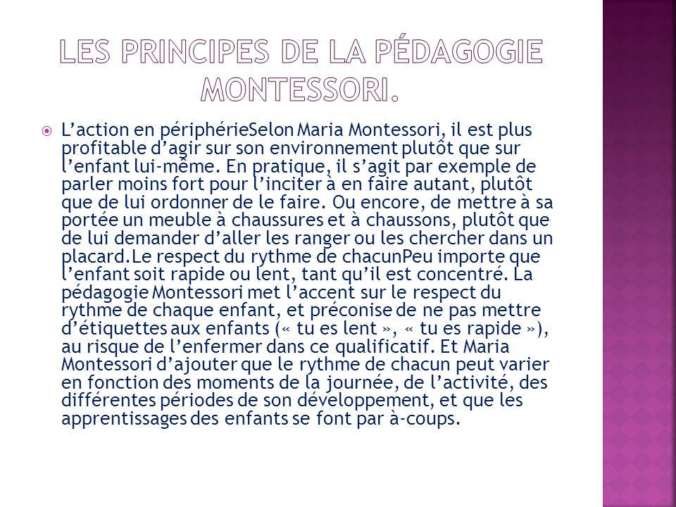 Laction en périphérieSelon Maria Montessori, il est plus profitable dagir sur son environnement plutôt que sur lenfant lui-même. En pratique, il sagit
