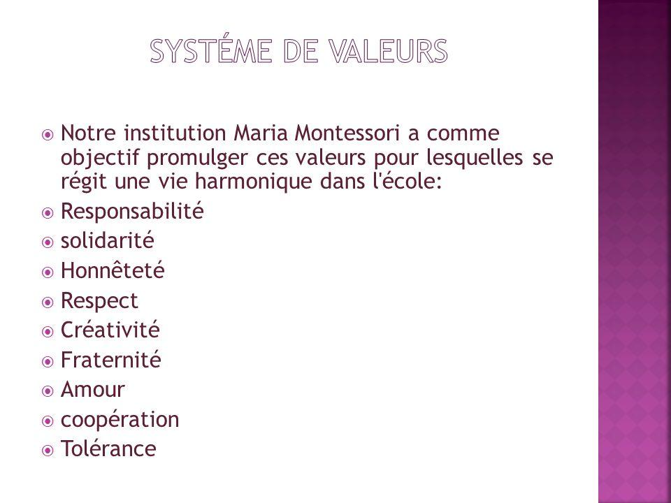 Notre institution Maria Montessori a comme objectif promulger ces valeurs pour lesquelles se régit une vie harmonique dans l'école: Responsabilité sol
