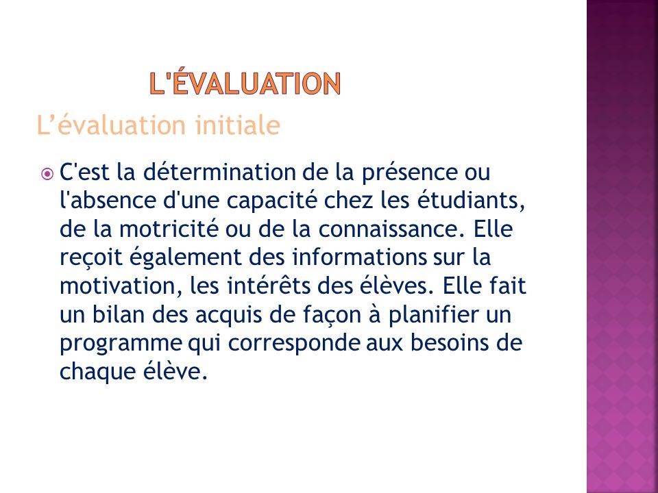Lévaluation initiale C'est la détermination de la présence ou l'absence d'une capacité chez les étudiants, de la motricité ou de la connaissance. Elle