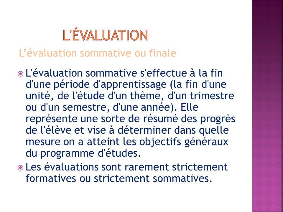 Lévaluation sommative ou finale L'évaluation sommative s'effectue à la fin d'une période d'apprentissage (la fin d'une unité, de l'étude d'un thème, d