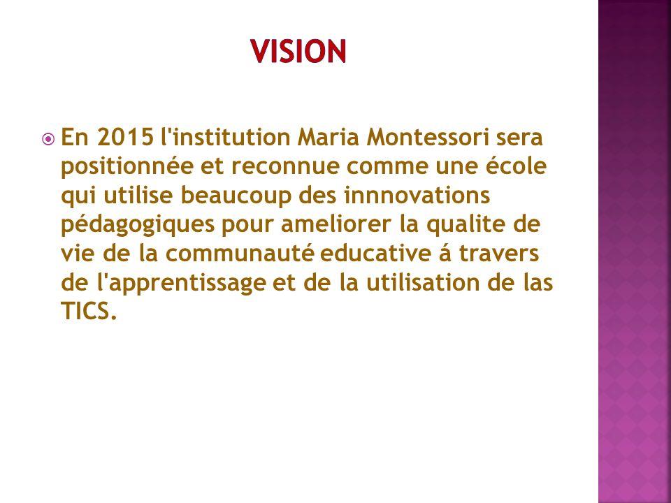 En 2015 l'institution Maria Montessori sera positionnée et reconnue comme une école qui utilise beaucoup des innnovations pédagogiques pour ameliorer