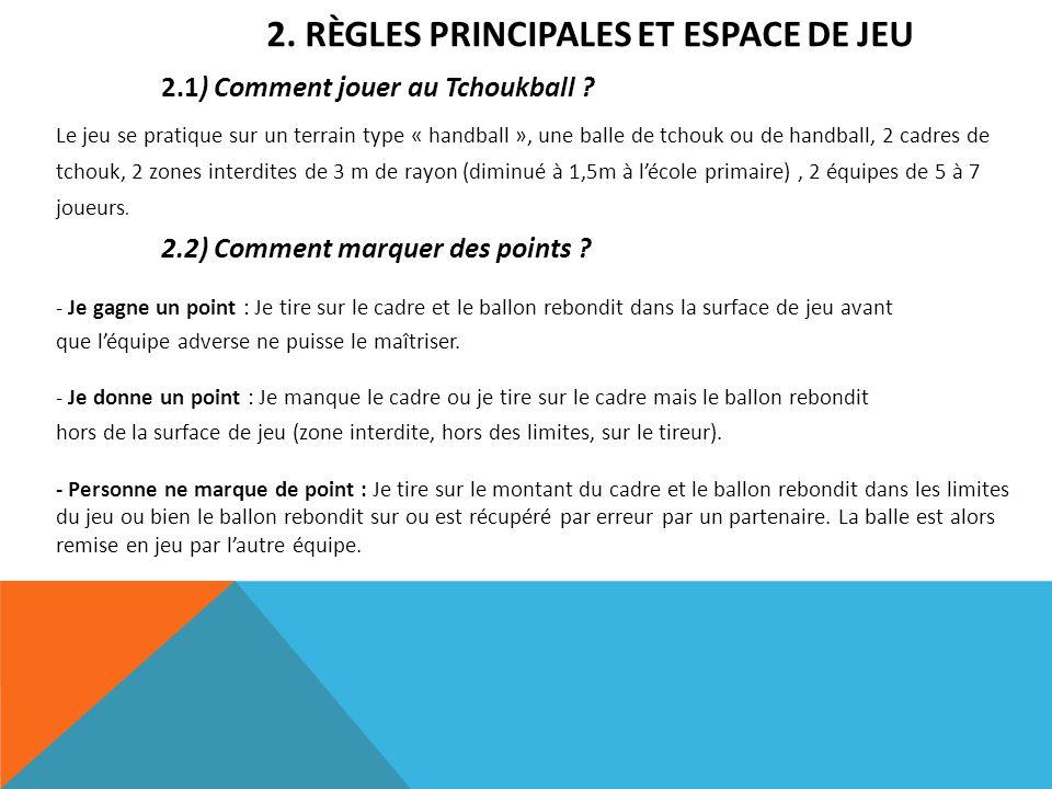 2. RÈGLES PRINCIPALES ET ESPACE DE JEU 2.1) Comment jouer au Tchoukball ? Le jeu se pratique sur un terrain type « handball », une balle de tchouk ou