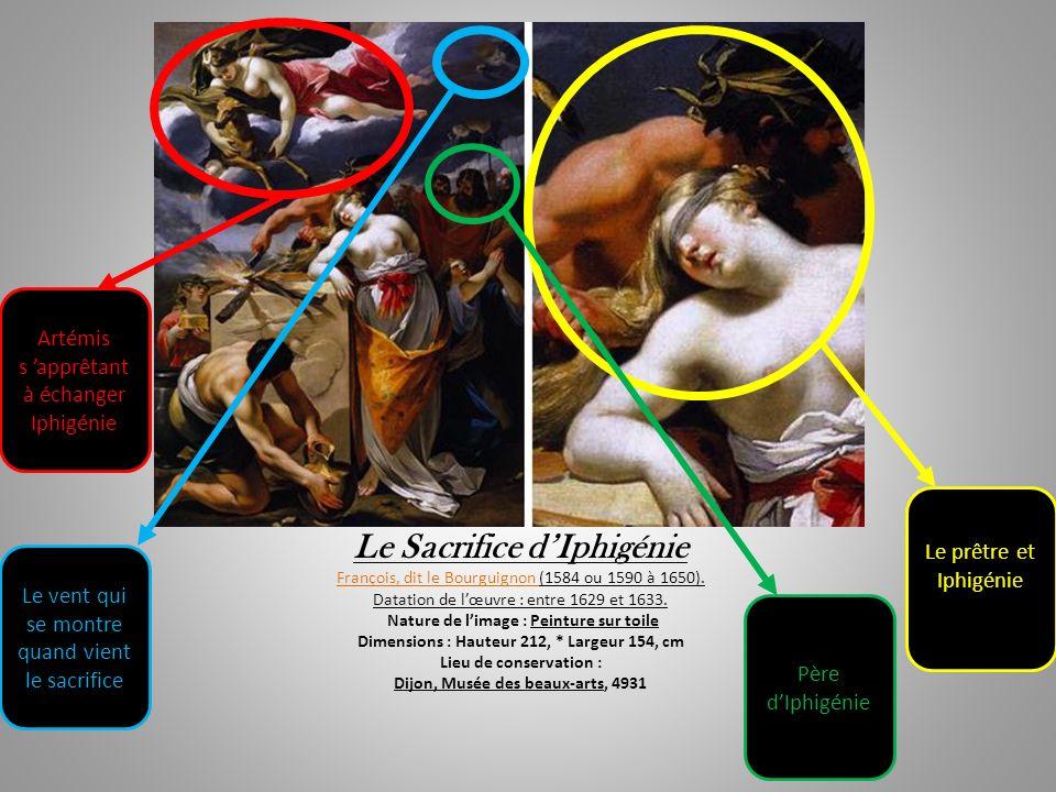 Le Sacrifice dIphigénie François, dit le Bourguignon (1584 ou 1590 à 1650). Datation de lœuvre : entre 1629 et 1633. Nature de limage : Peinture sur t