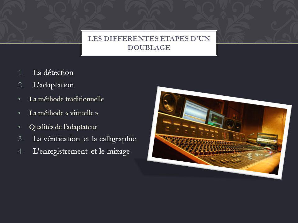 1.La détection 2.L'adaptation La méthode traditionnelle La méthode « virtuelle » Qualités de l'adaptateur 3.La vérification et la calligraphie 4.L'enr
