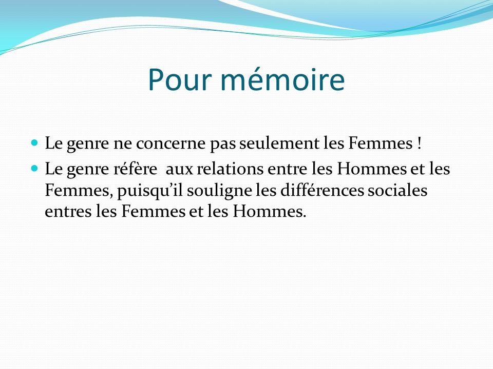 Pour mémoire Le genre ne concerne pas seulement les Femmes .