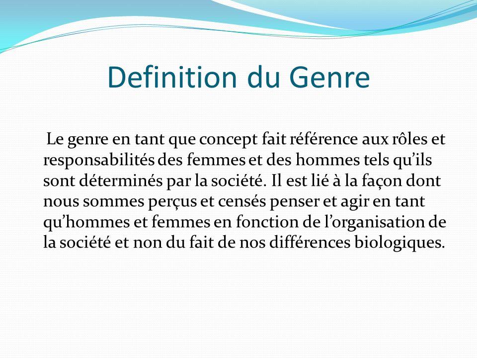 Definition du Genre Le genre en tant que concept fait référence aux rôles et responsabilités des femmes et des hommes tels quils sont déterminés par la société.