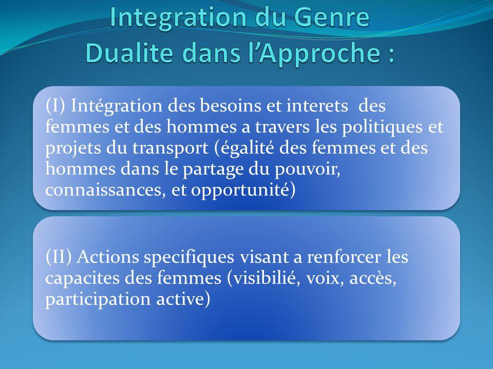 (I) Intégration des besoins et interets des femmes et des hommes a travers les politiques et projets du transport (égalité des femmes et des hommes dans le partage du pouvoir, connaissances, et opportunité) (II) Actions specifiques visant a renforcer les capacites des femmes (visibilié, voix, accès, participation active)