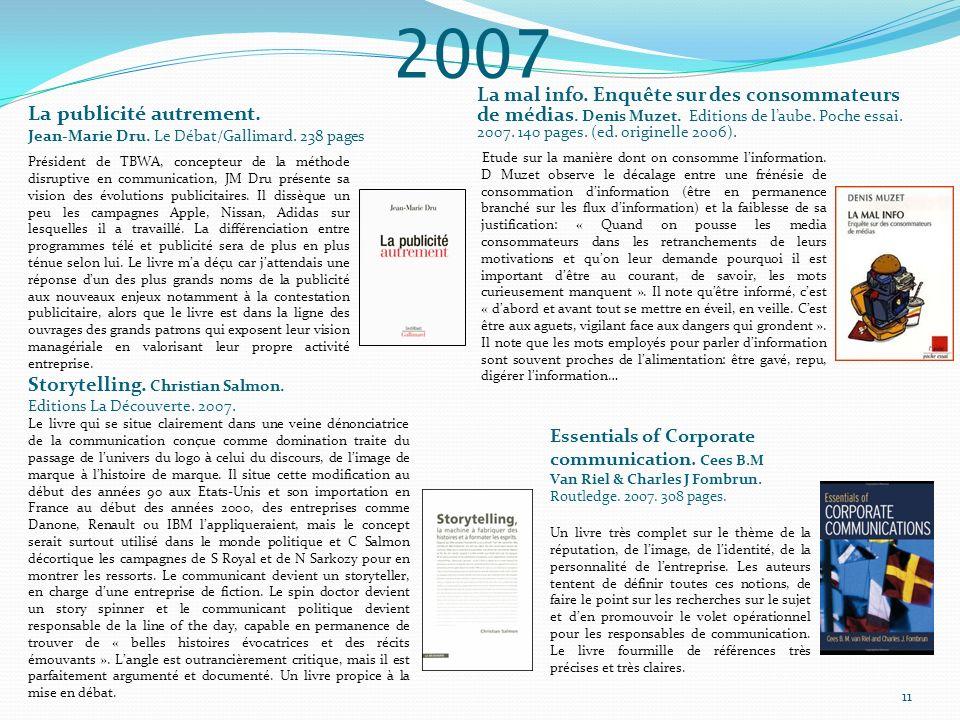 2007 La mal info. Enquête sur des consommateurs de médias. Denis Muzet. Editions de laube. Poche essai. 2007. 140 pages. (ed. originelle 2006). Etude