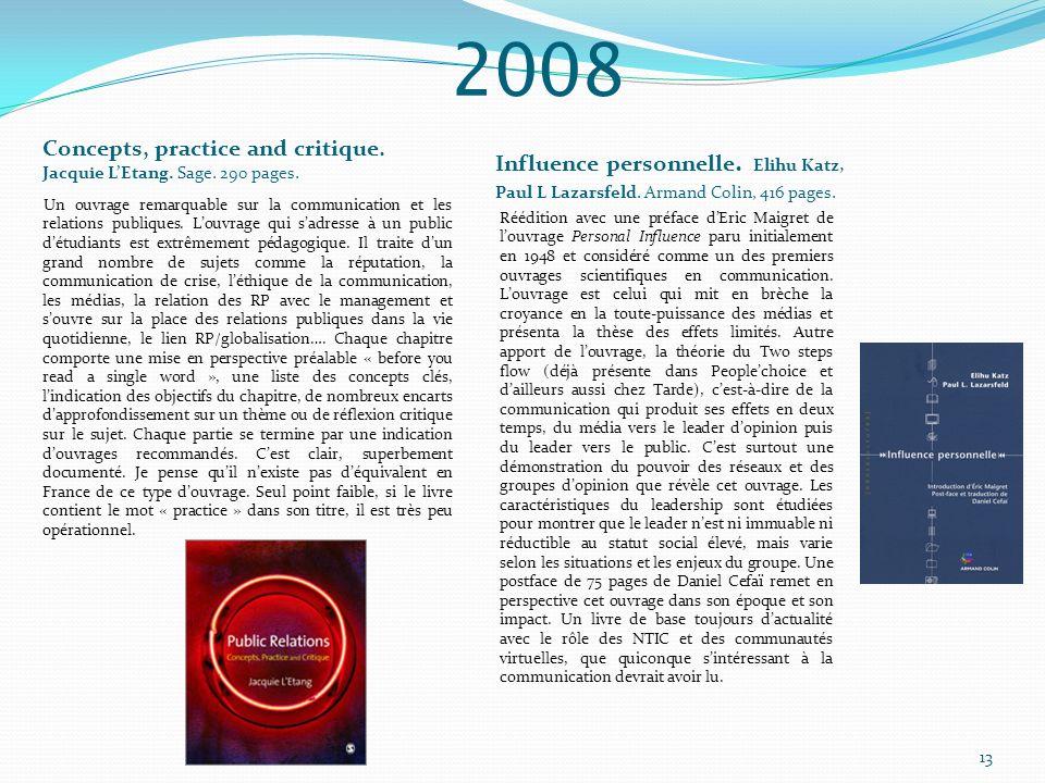 Concepts, practice and critique. Jacquie LEtang. Sage. 290 pages. Influence personnelle. Elihu Katz, Paul L Lazarsfeld. Armand Colin, 416 pages. Un ou