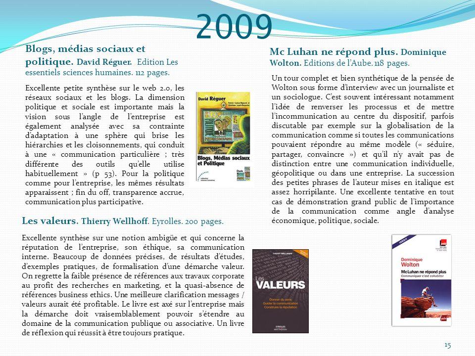 2009 Mc Luhan ne répond plus. Dominique Wolton. Editions de lAube. 118 pages. Un tour complet et bien synthétique de la pensée de Wolton sous forme di