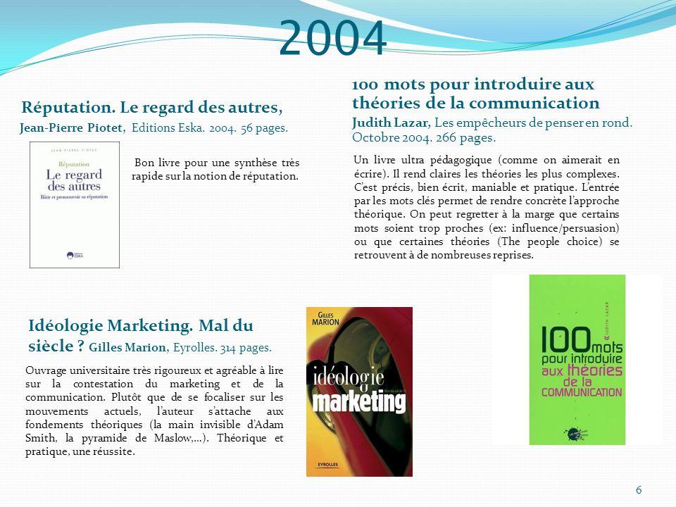 2004 Réputation. Le regard des autres, Jean-Pierre Piotet, Editions Eska. 2004. 56 pages. 100 mots pour introduire aux théories de la communication Ju