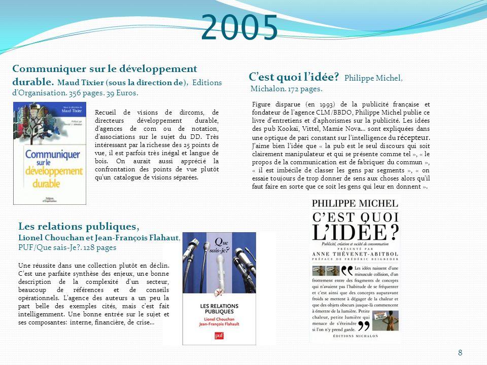 2005 Communiquer sur le développement durable. Maud Tixier (sous la direction de), Editions dOrganisation. 356 pages. 39 Euros. Recueil de visions de