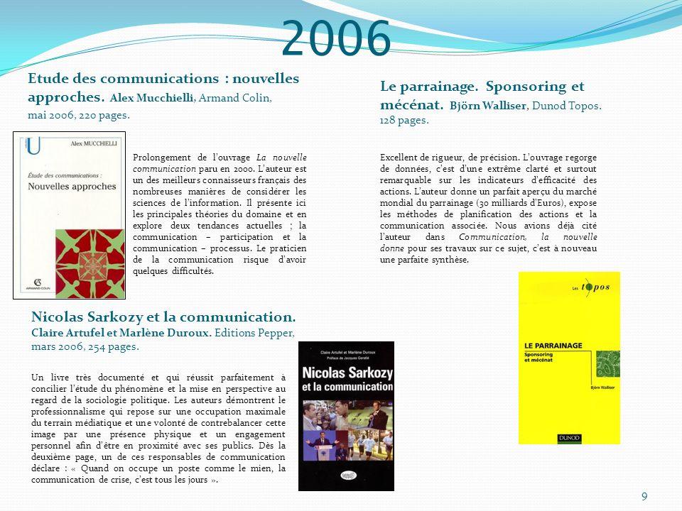 2006 Etude des communications : nouvelles approches. Alex Mucchielli, Armand Colin, mai 2006, 220 pages. Prolongement de louvrage La nouvelle communic