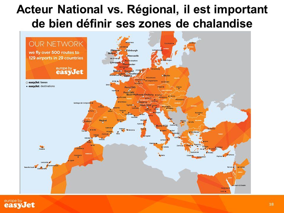 18 Acteur National vs. Régional, il est important de bien définir ses zones de chalandise