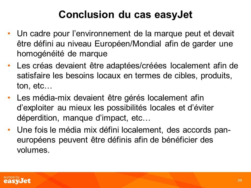 20 Conclusion du cas easyJet Un cadre pour lenvironnement de la marque peut et devait être défini au niveau Européen/Mondial afin de garder une homogé