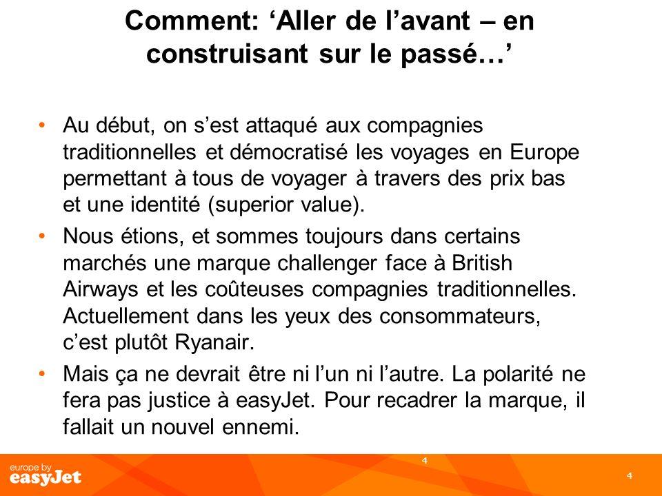 4 Comment: Aller de lavant – en construisant sur le passé… Au début, on sest attaqué aux compagnies traditionnelles et démocratisé les voyages en Euro