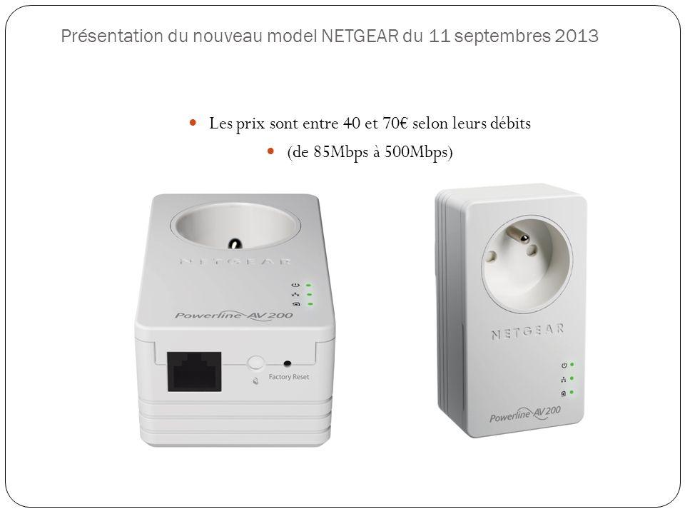Présentation du nouveau model NETGEAR du 11 septembres 2013 Les prix sont entre 40 et 70 selon leurs débits (de 85Mbps à 500Mbps)