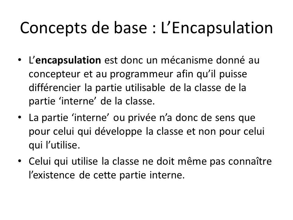Lencapsulation est donc un mécanisme donné au concepteur et au programmeur afin quil puisse différencier la partie utilisable de la classe de la partie interne de la classe.