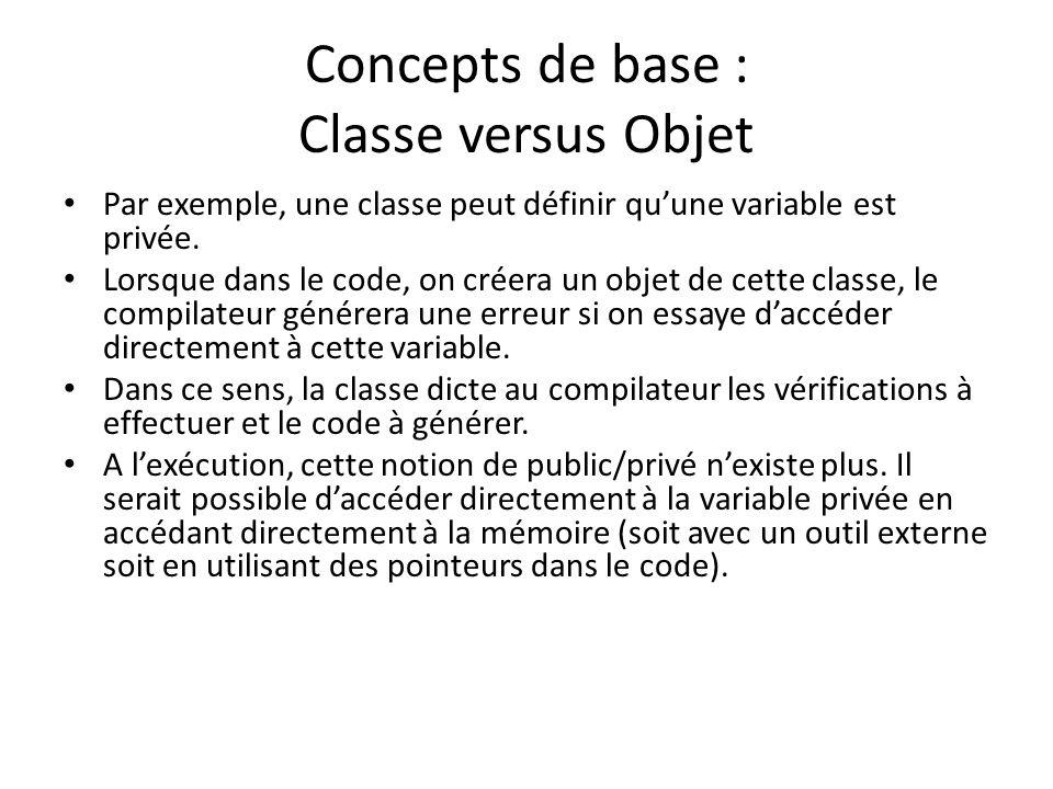 Concepts de base : Classe versus Objet Par exemple, une classe peut définir quune variable est privée.
