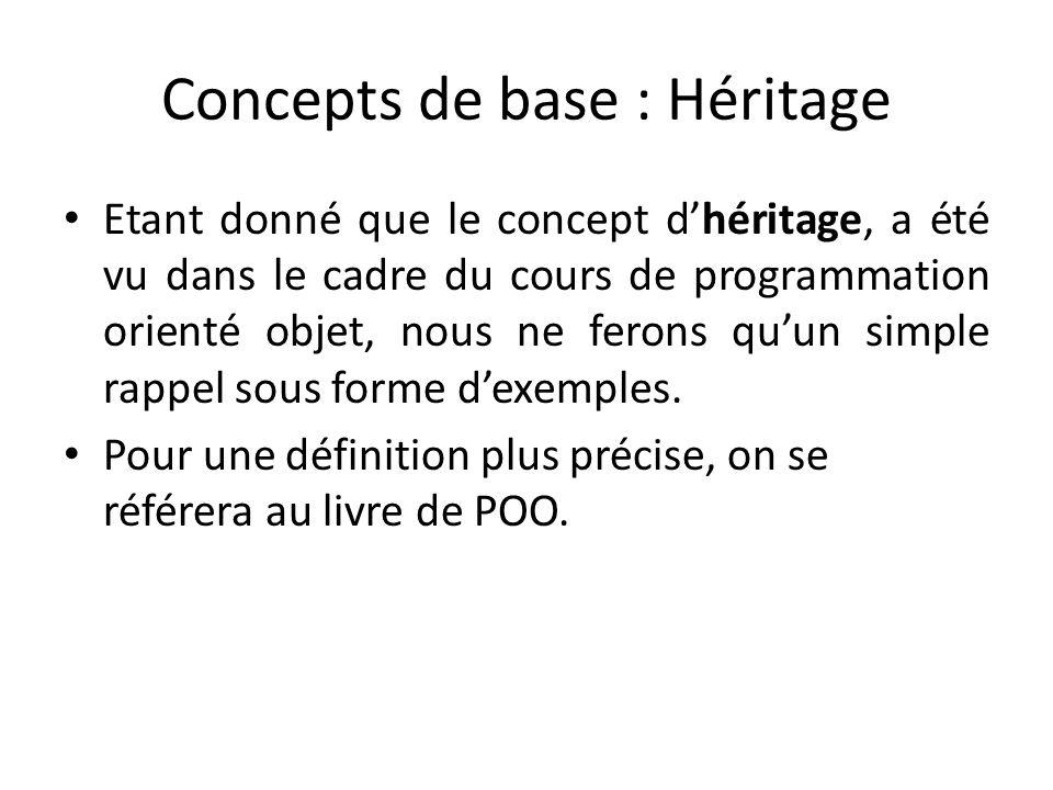 Concepts de base : Héritage Etant donné que le concept dhéritage, a été vu dans le cadre du cours de programmation orienté objet, nous ne ferons quun simple rappel sous forme dexemples.