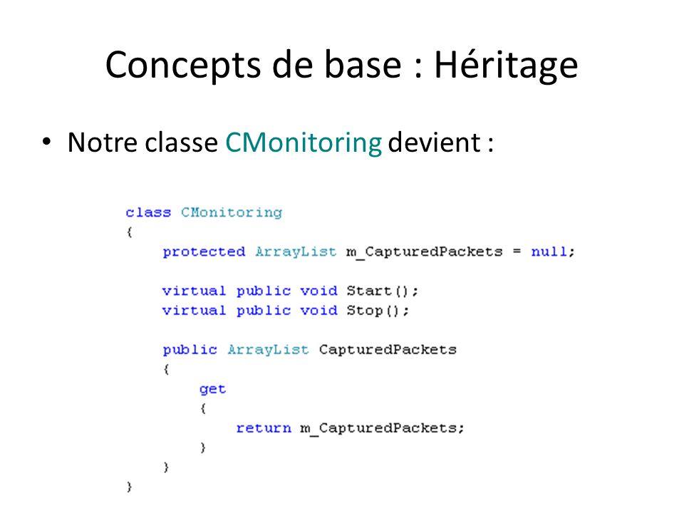 Concepts de base : Héritage Notre classe CMonitoring devient :