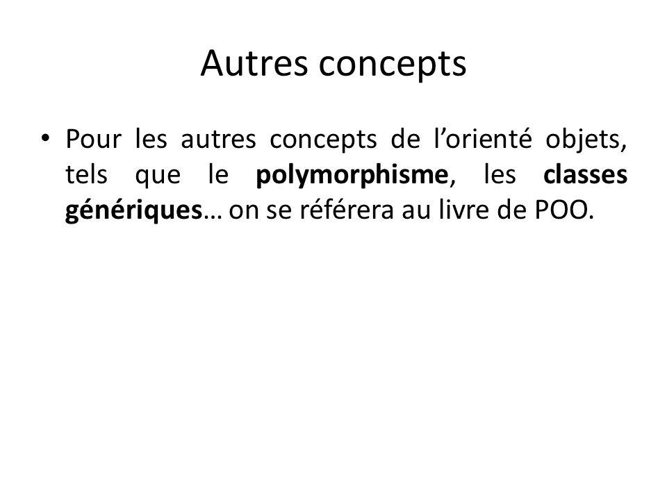 Autres concepts Pour les autres concepts de lorienté objets, tels que le polymorphisme, les classes génériques… on se référera au livre de POO.