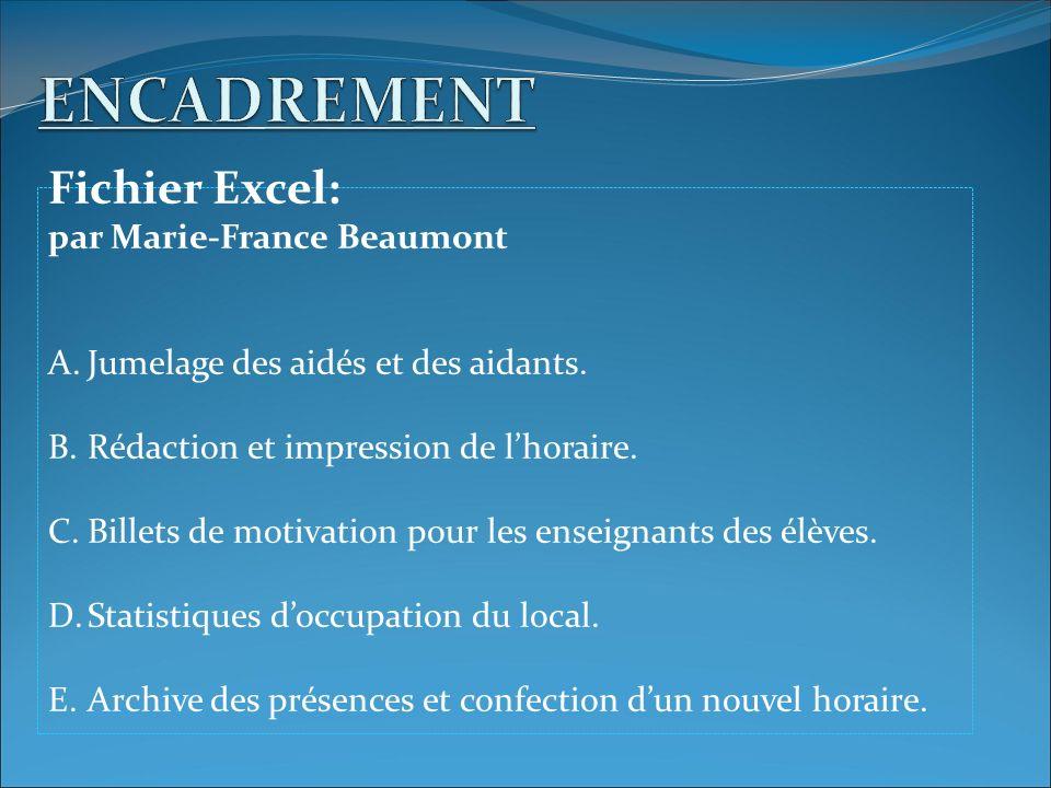 Fichier Excel: par Marie-France Beaumont A.Jumelage des aidés et des aidants. B.Rédaction et impression de lhoraire. C.Billets de motivation pour les