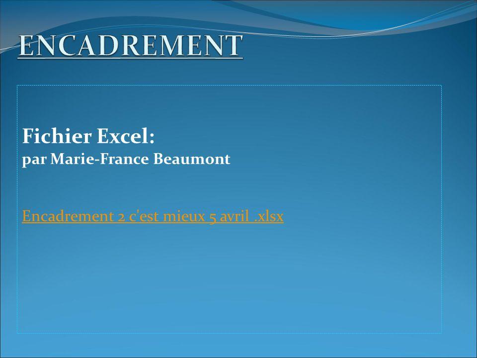 Fichier Excel: par Marie-France Beaumont Encadrement 2 c est mieux 5 avril.xlsx