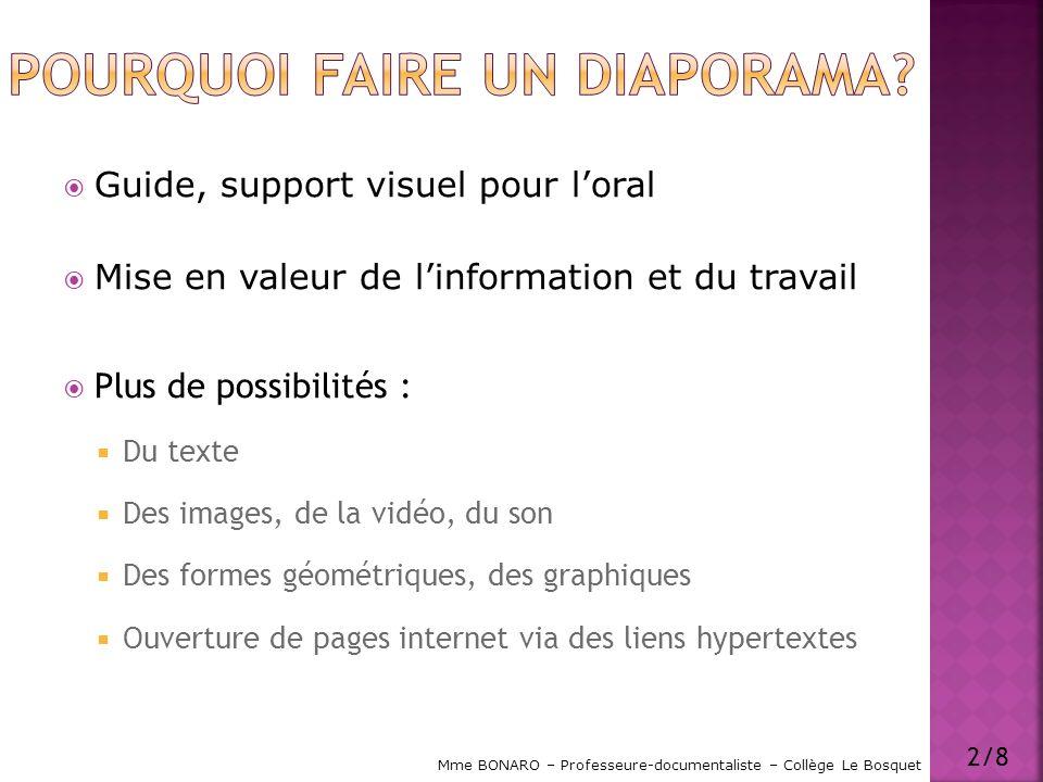 Guide, support visuel pour loral Mise en valeur de linformation et du travail Plus de possibilités : Du texte Des images, de la vidéo, du son Des form