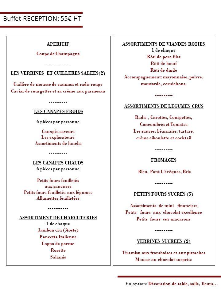 Buffet RECEPTION: 55 HT APERITIF Coupe de Champagne -------------- LES VERRINES ET CUILLERES SALEES(2) Cuillère de mousse de saumon et radis rouge Cav
