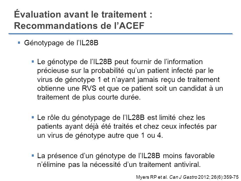 Génotypage de lIL28B Le génotype de lIL28B peut fournir de linformation précieuse sur la probabilité quun patient infecté par le virus de génotype 1 e