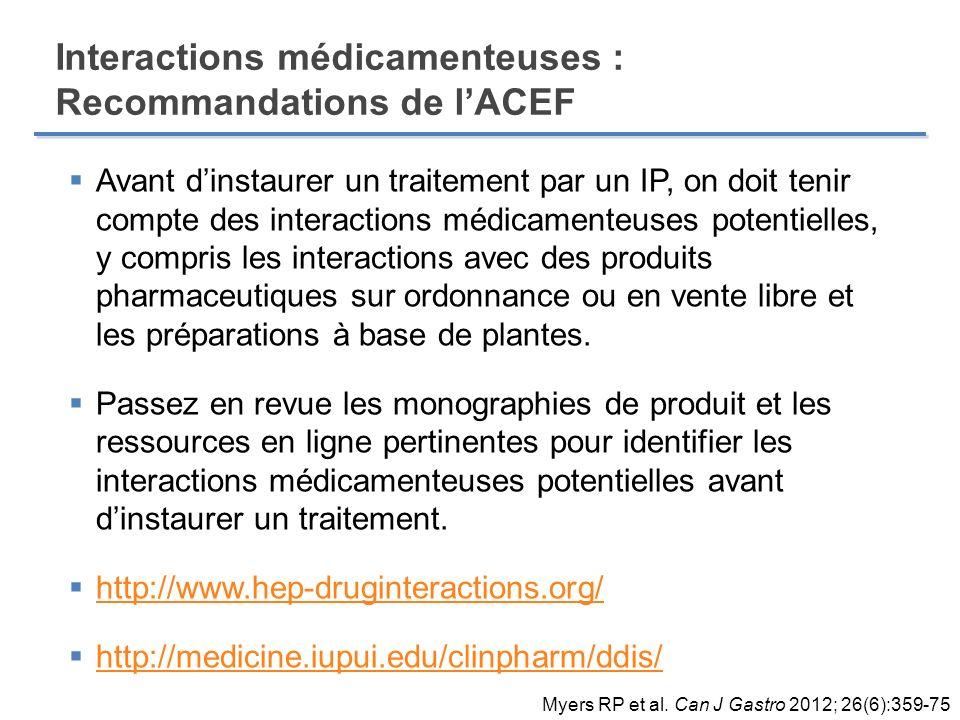 Avant dinstaurer un traitement par un IP, on doit tenir compte des interactions médicamenteuses potentielles, y compris les interactions avec des prod