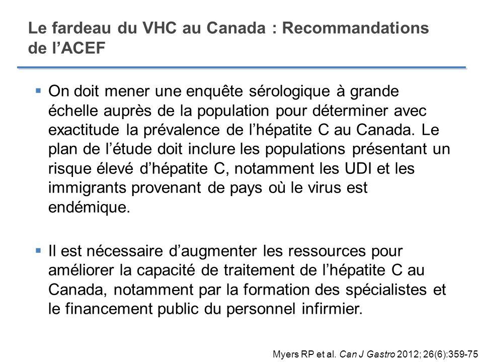 Le fardeau du VHC au Canada : Recommandations de lACEF On doit mener une enquête sérologique à grande échelle auprès de la population pour déterminer