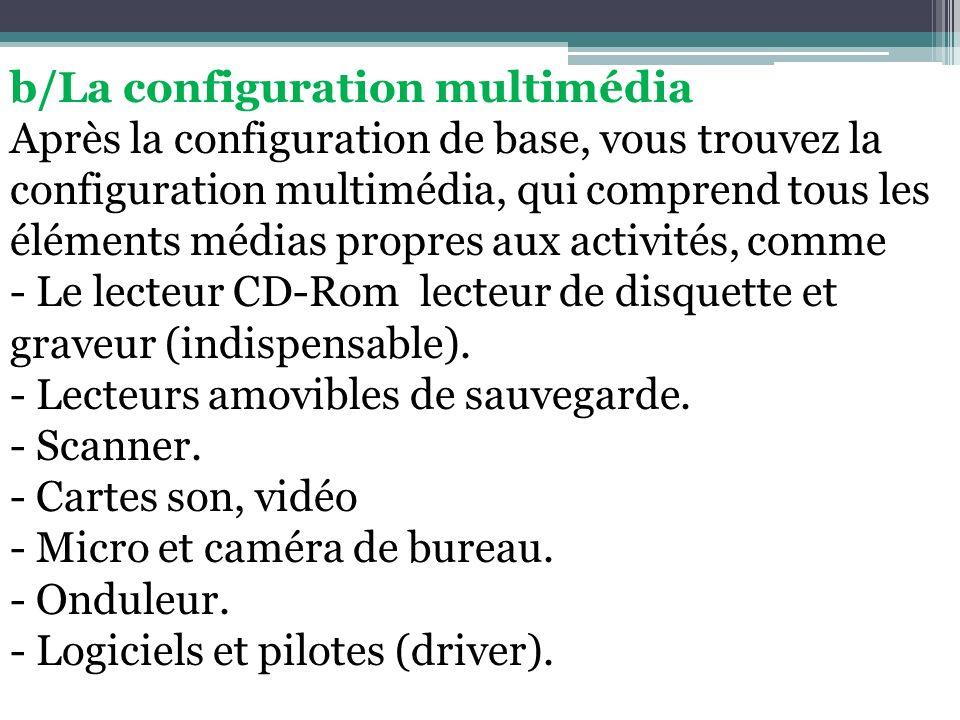 b/La configuration multimédia Après la configuration de base, vous trouvez la configuration multimédia, qui comprend tous les éléments médias propres