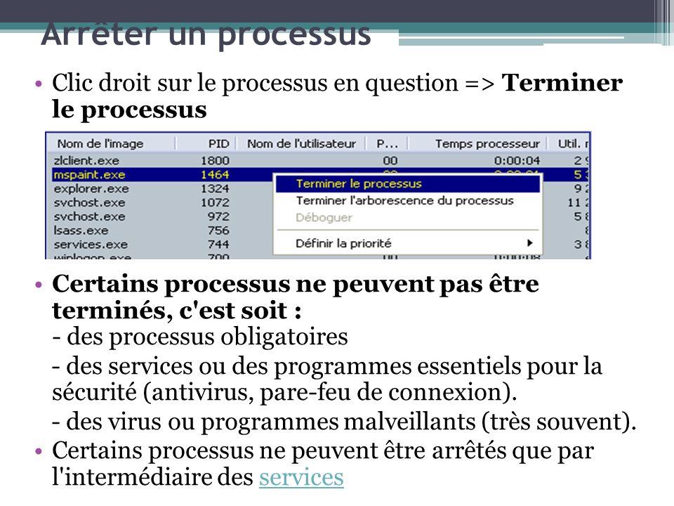 Arrêter un processus Clic droit sur le processus en question => Terminer le processus Certains processus ne peuvent pas être terminés, c'est soit : -