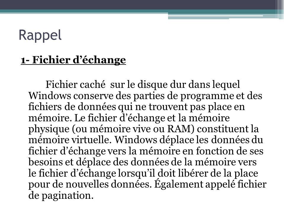 Rappel 1- Fichier déchange Fichier caché sur le disque dur dans lequel Windows conserve des parties de programme et des fichiers de données qui ne tro
