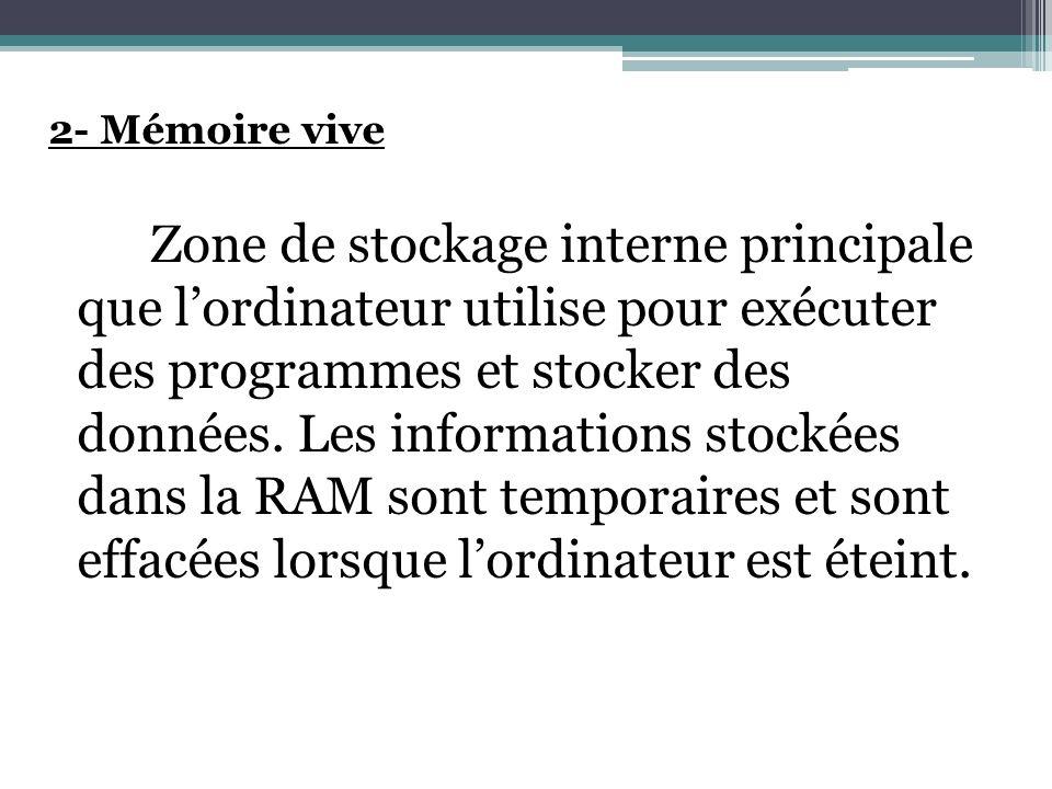 2- Mémoire vive Zone de stockage interne principale que lordinateur utilise pour exécuter des programmes et stocker des données. Les informations stoc