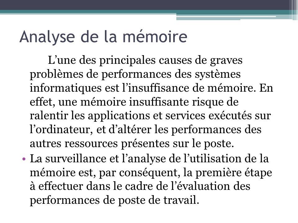 Analyse de la mémoire Lune des principales causes de graves problèmes de performances des systèmes informatiques est linsuffisance de mémoire. En effe