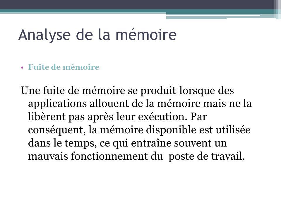 Fuite de mémoire Une fuite de mémoire se produit lorsque des applications allouent de la mémoire mais ne la libèrent pas après leur exécution. Par con